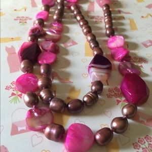 """Jewelry - """"A"""" Pearl and pink agate necklace"""
